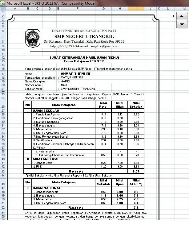 Skhu Sementara 2013 Dengan Aplikasi Ms Excel 2003 Blog Guru Teknologi Informasi Amp Komunikasi